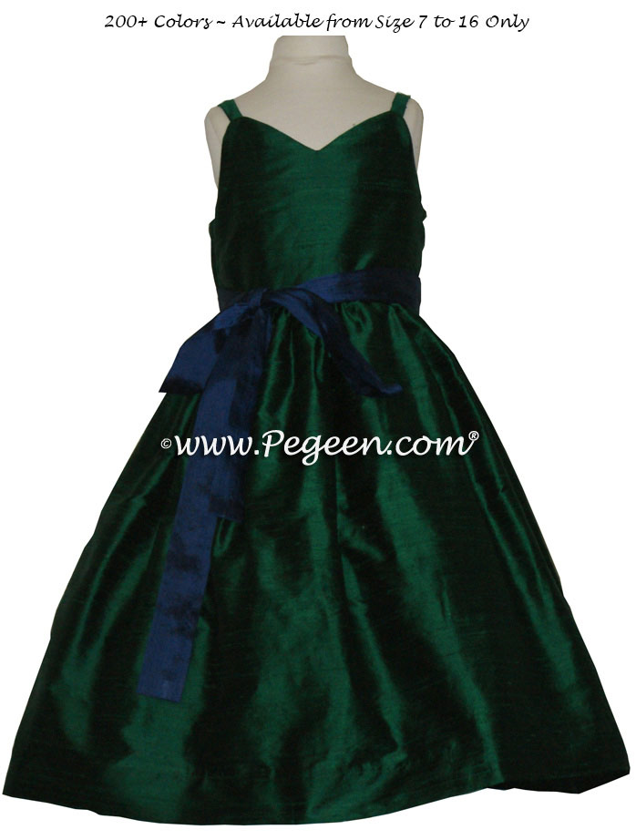 Jr bridesmaids dress in Forest Green and Navy Blue with Spaghetti strap | Pegeen