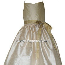 Buttercreme, wheat and Spun Gold junior bridesmaids dress