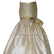 Buttercreme, wheat and Spun Gold junior bridesmaids dress