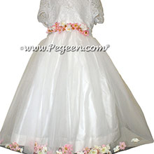 ALONCON LACE CUSTOM FLOWER GIRL DRESSES WITH TULLE AND APPLE BLOSSOM PETALS IN THE SKIRT