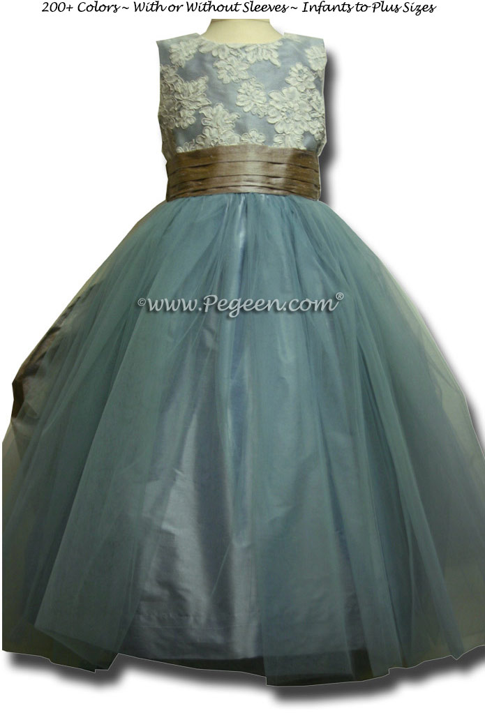 French blue and taupe tulle junior bridesmaids dresses Couture Style 413 with Tulle