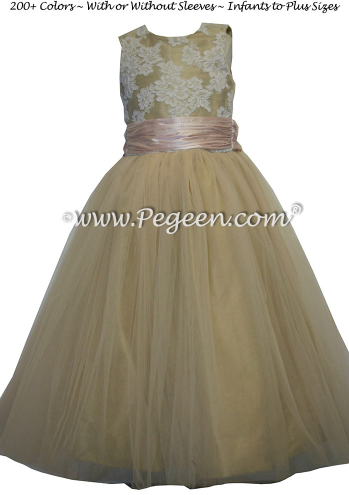 Spun gold and blush pink tulle junior bridesmaids dress Style 413