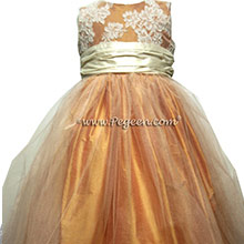 Ivory and Cantaloupe flower girl dresses