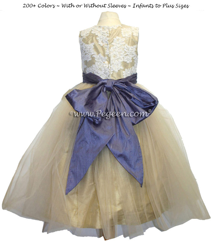 Tulle flower girl dress in gold with Aloncon lace and Iris Purple Sash