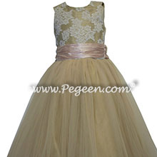 spun gold  and blush pink tulle junior bridesmaids dresses