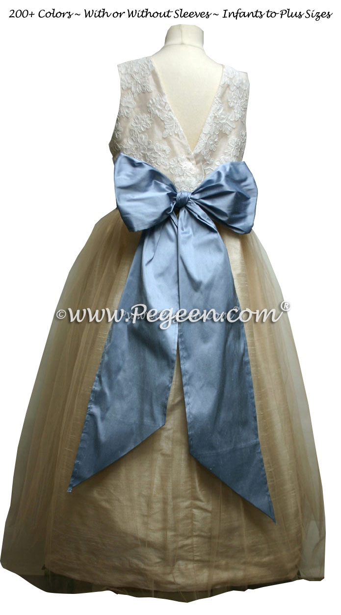 Flower Girl Dress in Toffee and Azuline Blue with a V-Back - Couture Style 413