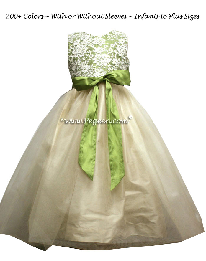 Vine Green and ivory lace custom silk Flower Girl Dress Style 301