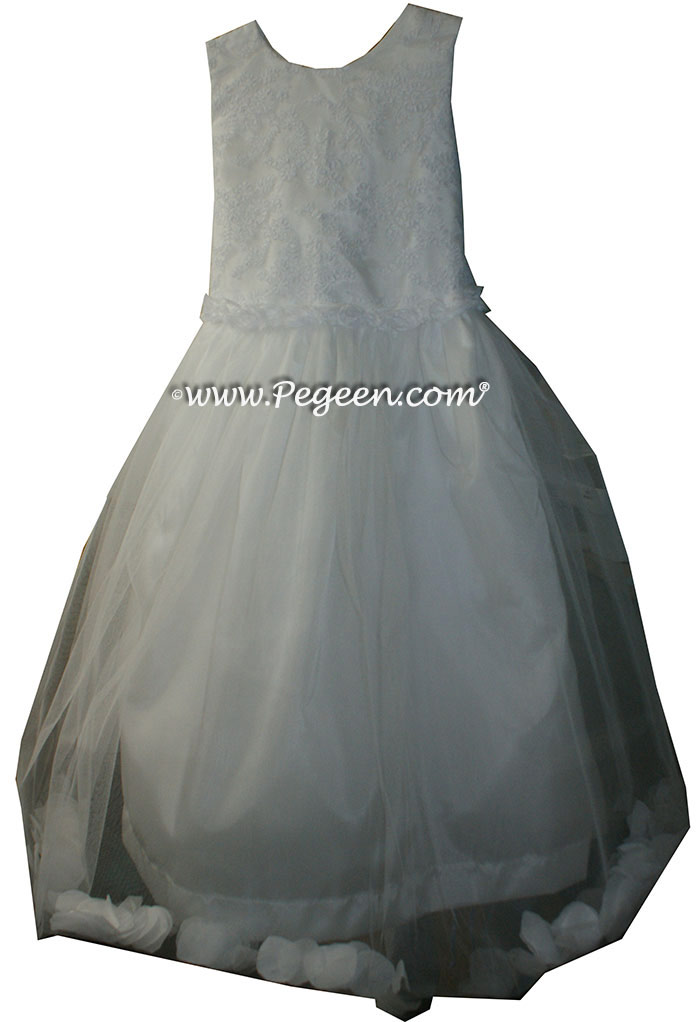 ALONCON LACE CUSTOM FIRST COMMUNION DRESS WITH TULLE