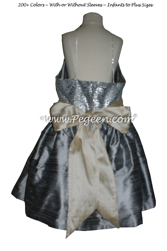 Silver Gray and Glitter Tulle Flower Girl Dresses Metallic Sparkle top Style 302