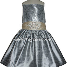 Silver Gray and Glitter Tulle Flower Girl Dresses Metallic Sparkle top