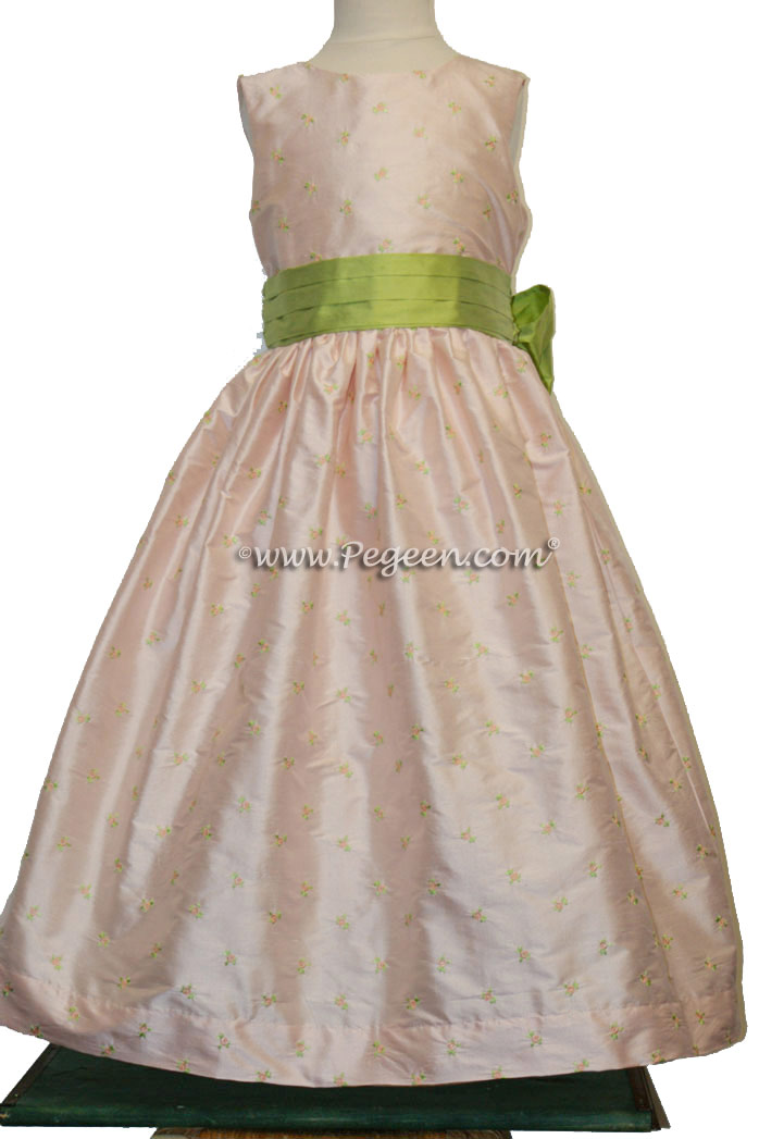 Embroidered Silk Flower Girl Dress in pink and sprite green | Pegeen