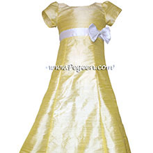 Baby Chick Yellow and White Silk Flower Girl Dresses style 305 by Pegeen