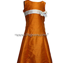 Tangerine and Antique White Silk Jr Bridesmaids Dress style 305 by Pegeen