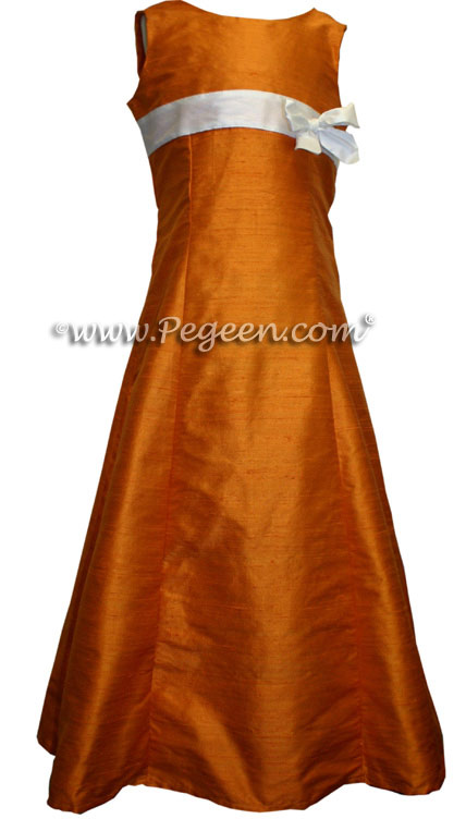 Orange and White Silk Jr Bridesmaids Dress Style 305