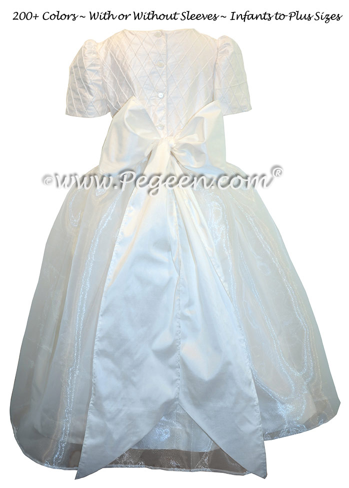 First Communion Dresses in Antique White With Silk Pintuck Trellis