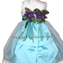Ivory and pintuck silk with tiffany blue infant Flower Girl Dresses