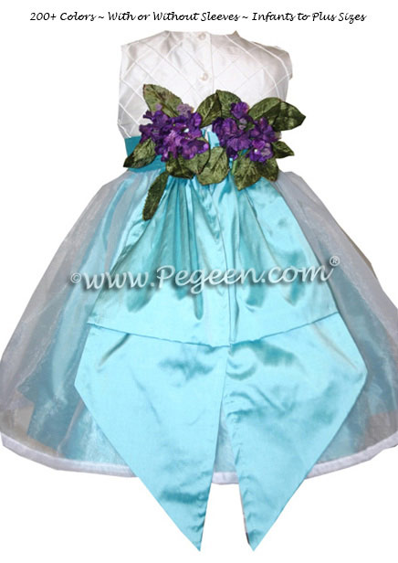 Ivory and pintuck silk with tiffany blue infant Flower Girl Dresses - Style 307