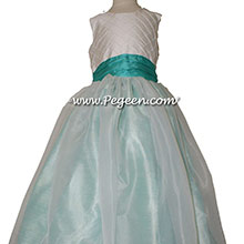 Paradise, Sea Side (Light Aqua) and Antique White FLOWER GIRL DRESSES With Silk Pintuck Trellis