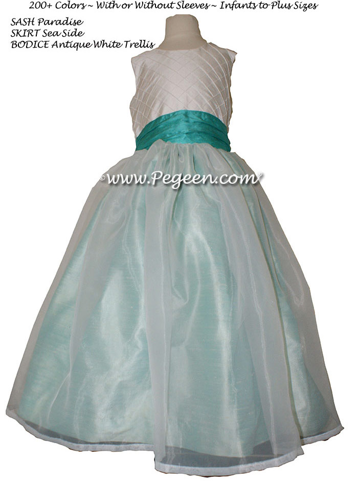 Flower Girl Dresses in Shades of Aqua, White With Silk Pintuck Trellis | Pegeen