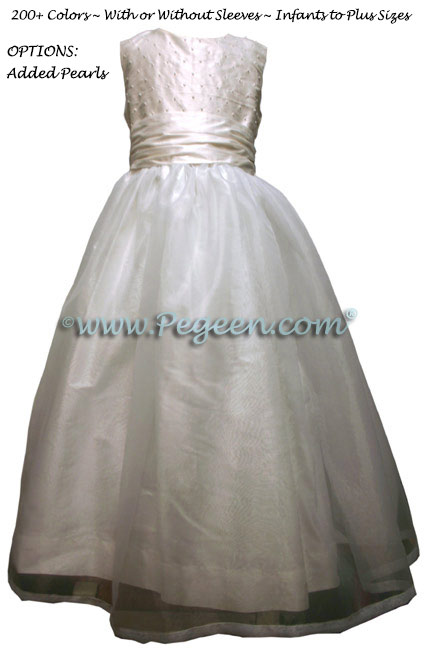 White communion dress with pearls Style 307