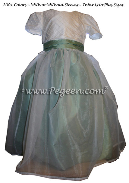 White Pintuck Silk, Organza and Celadon Green Style 307