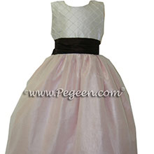 PETAL PINK AND SEMI-SWEET chocolate brown FLOWER GIRL DRESSES