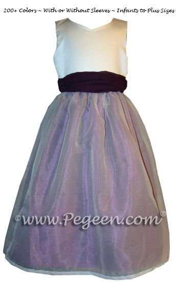 Eggplant and New Ivory custom silk Flower Girl Dress Style 301