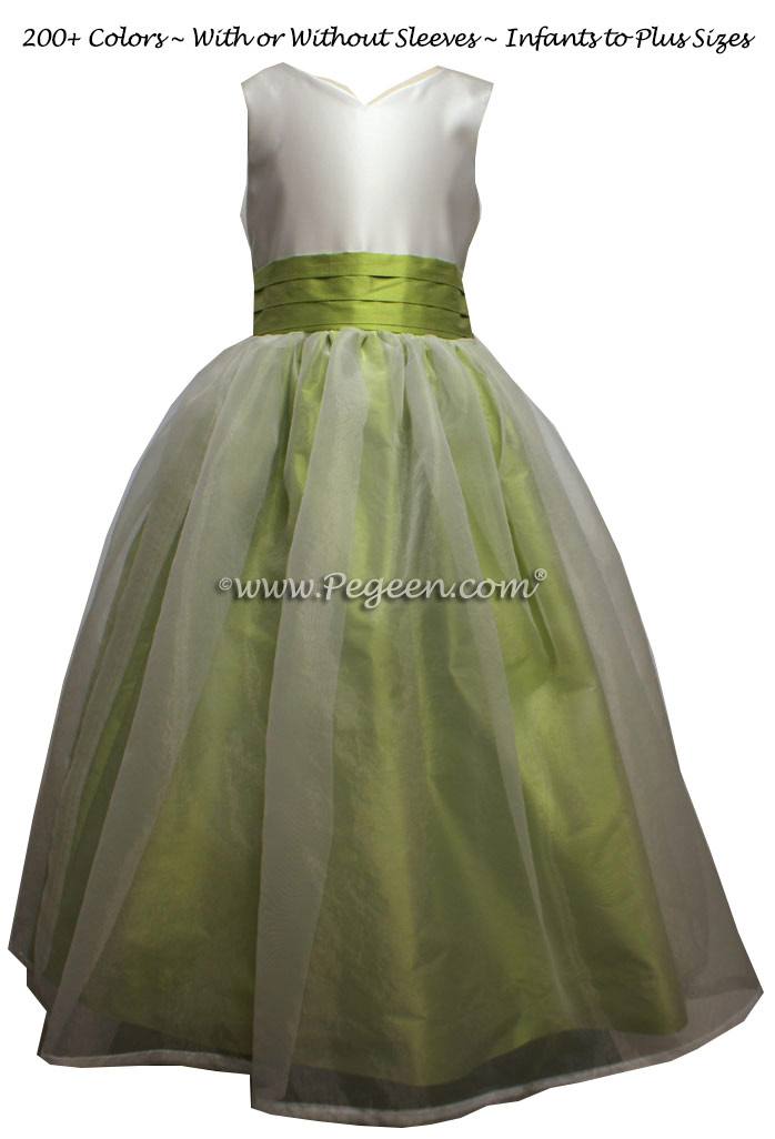 Citrus Green and New Ivory custom silk Flower Girl Dress Style 301