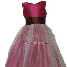 MAGENTA AND CHOCOLATE BROWN Flower Girl Dresses