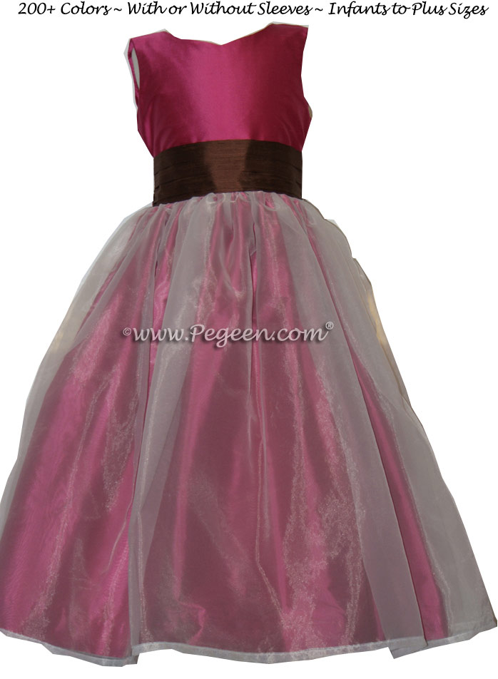 Magenta pink and chocolate brown custom silk Flower Girl Dress Style 359