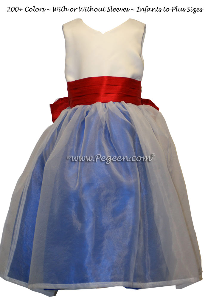 FLOWER GIRL DRESSES IN RED, WHITE AND BLUE FOR A PATRIOTIC LOOK!