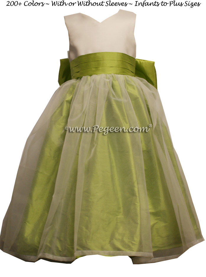 Citrus Green and Ivory Satin custom silk Flower Girl Dress Style 301