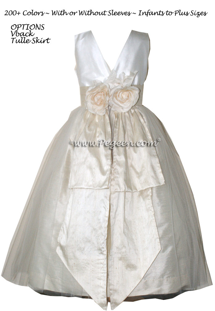 Ivory and Creme Bisque Flower Girl Dresses Style 313