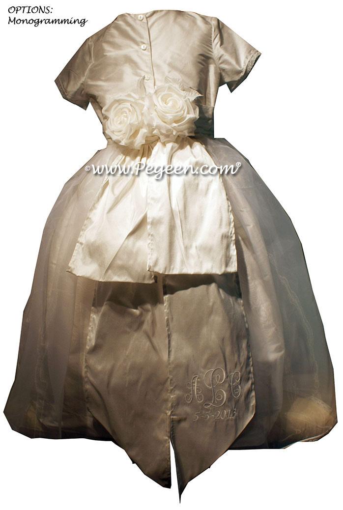 Monogrammed Antique White Silk First Communion dress