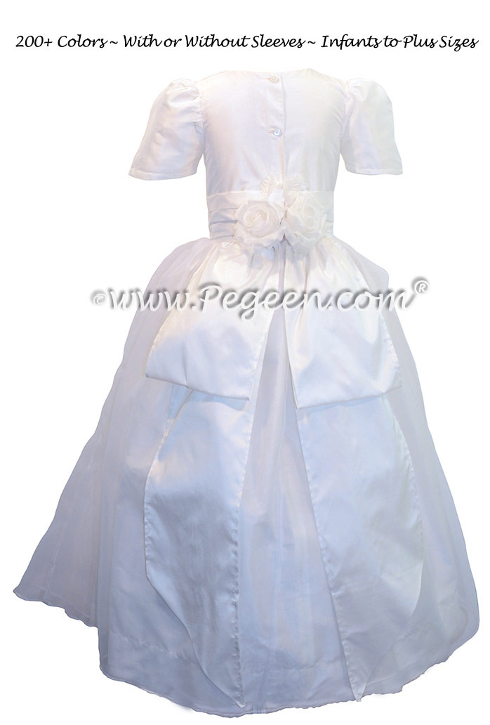 Custom Antique White Silk First Communion dress