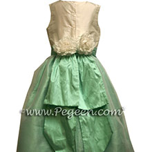 aqua silk flower girl dresses