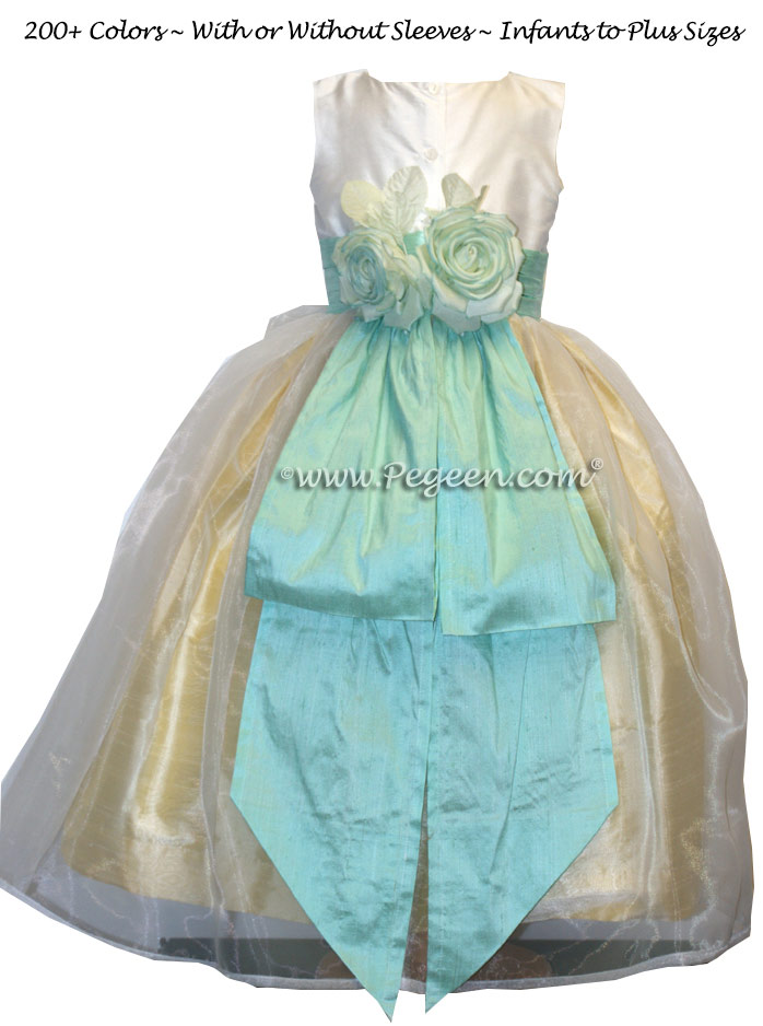 Yellow, Tiffany Aqua and White Silk Custom Flower Girl Dresses Style 313