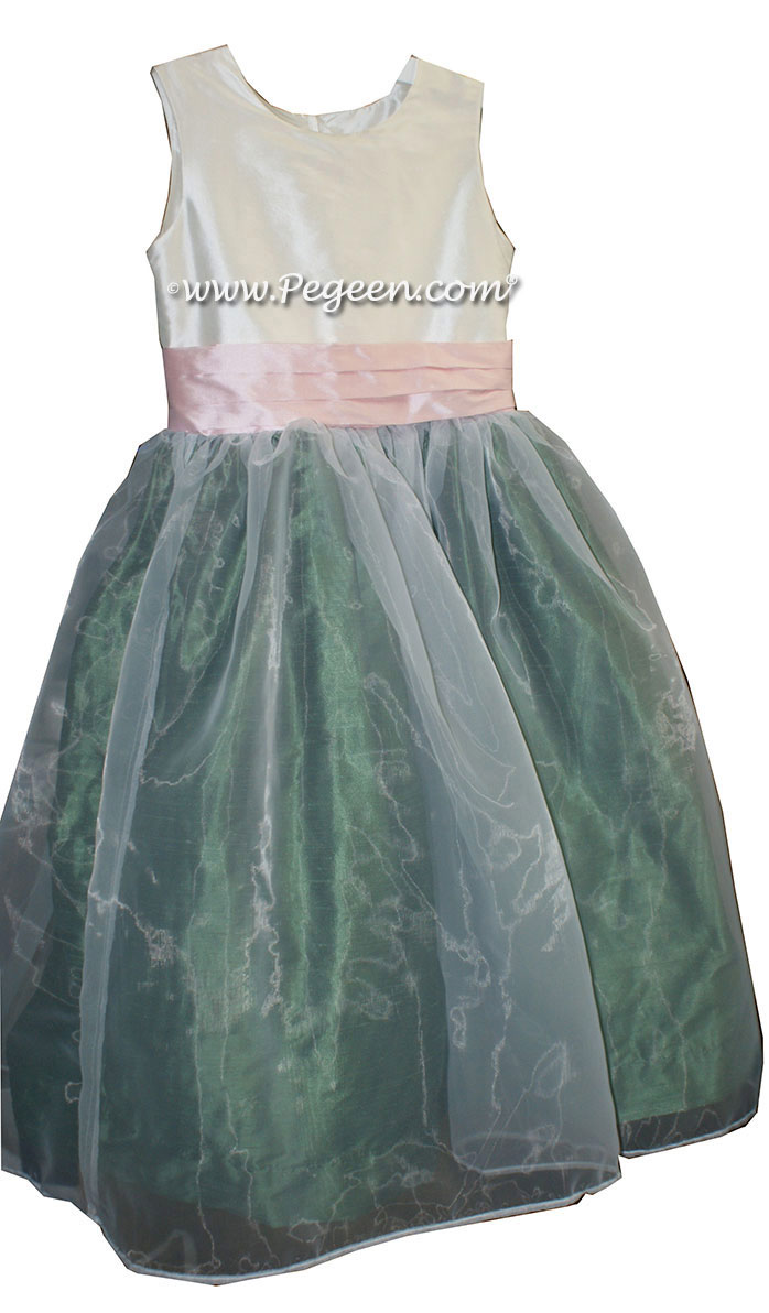 Antique White Basil Green and Blush Pink Silk Flower Girl Dresses Style 313