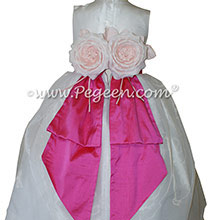 Antique White and Shock Pink CUSTOM FLOWER GIRL DRESSES BY PEGEEN