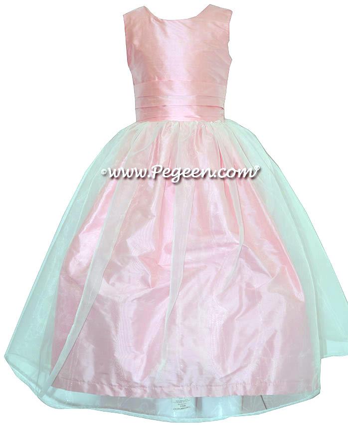 Custom Silk Blush Pink and Bubblegum Pink Tulle Flower Girl Dresses Classics 313