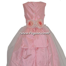 Custom Bubblegum Pink silk Organza Flower Girl Dresses