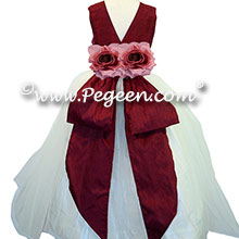 Antique White and Cranberry with Back Flowers -  Flower Girl Dress Style 313 By Pegeen