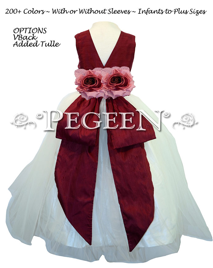 Antique White and Cranberry with Back Flowers -  Flower Girl Dress Style 313