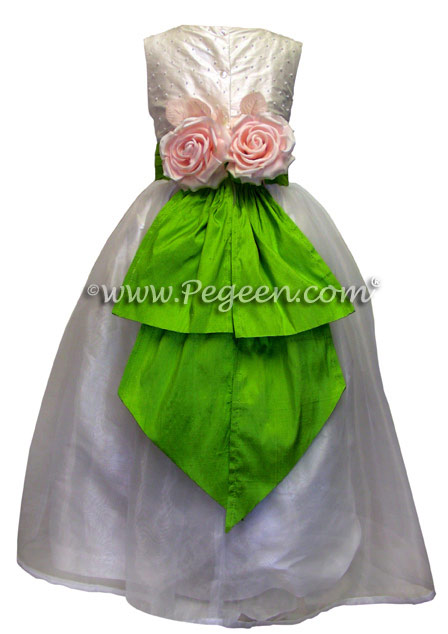 Custom Apple green and organza flower girl dresses in silk with pearls
