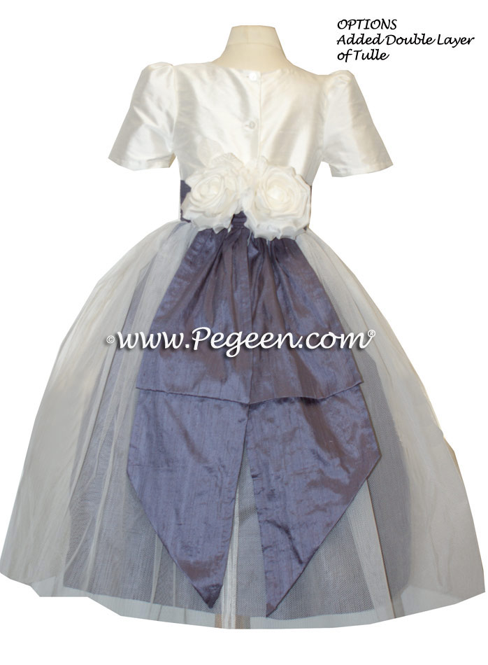 Matching Bill Levkoff White and Eurolilac -  Flower Girl Dress Style 313