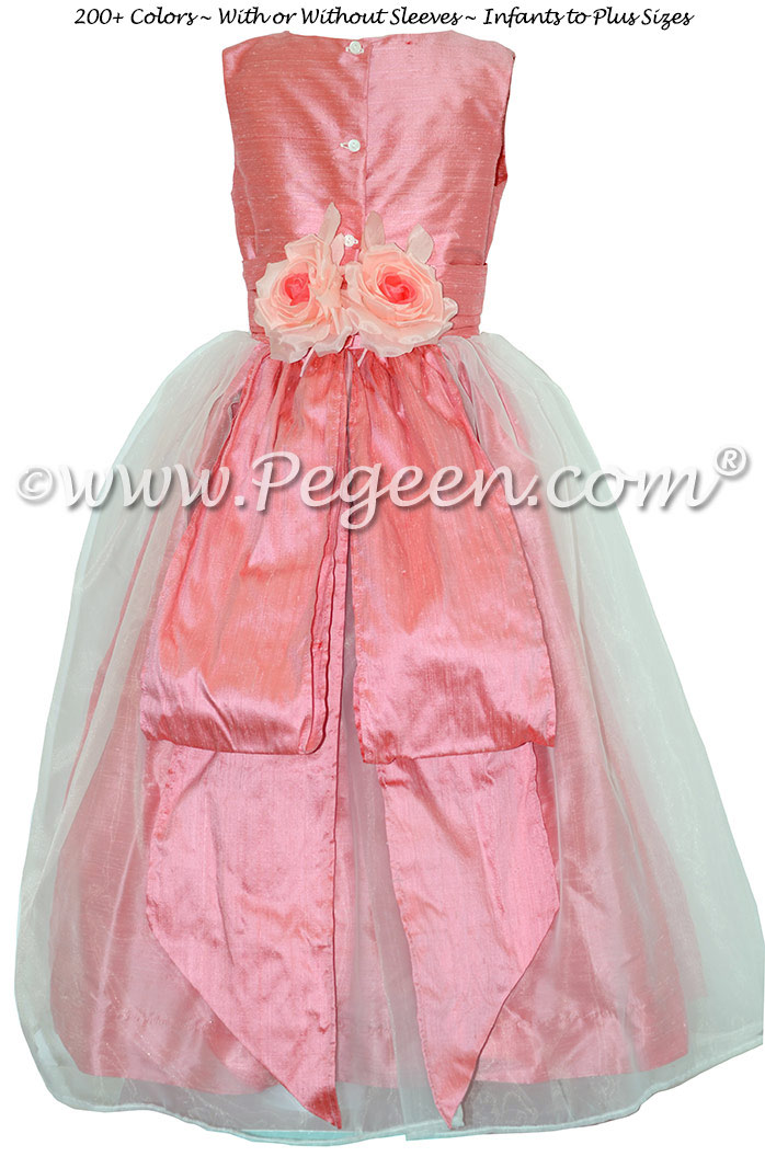 Gumdrop Pink Silk and Organza Flower Girl Dresses With Back Flowers Style 313