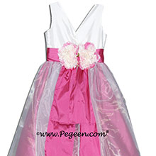 MAGENTA AND WHITE SILK CUSTOM Flower Girl Dresses