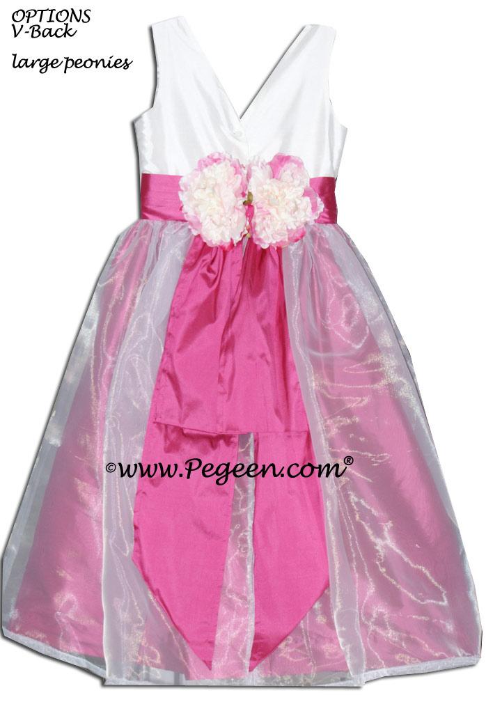 MAGENTA AND WHITE SILK CUSTOM FLOWER GIRL DRESSES Style 313