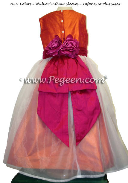 Mango and Raspberry Plus Size Junior Bridesmaids Dress Style 313