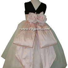 Custom Black and Baby Pink silk Organza Flower Girl Dresses